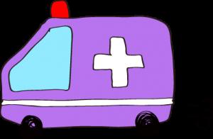 フリー素材 救急車 紫