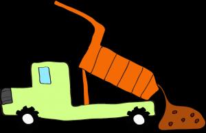 ダンプカー土砂下ろし:黄緑 【 フリー素材工事車両 】