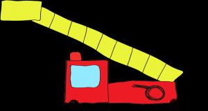 フリー素材 はしご車 赤(ロング)