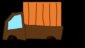 茶色 【フリー素材・乗り物】 軽トラック(荷台カバー)