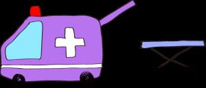 フリー素材 救急車 紫(タンカ)