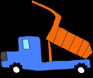 ダンプカー荷台上:青 【 フリー素材工事車両 】