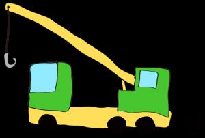 緑:【フリー素材・ 大型車】クレーン車