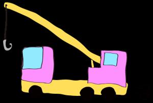 ピンク:【フリー素材・ 大型車】クレーン車