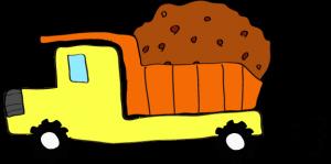 ダンプカー土積:黄色 【 フリー素材工事車両 】