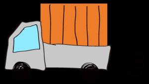 グレイ 【フリー素材・乗り物】 軽トラック(荷台カバー)