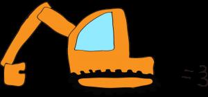 ショベルカー: オレンジ 【 フリー工事車両 】