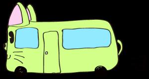 黄緑:【乗り物フリー素材】 猫バス