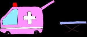 フリー素材 救急車 ピンク(タンカ)