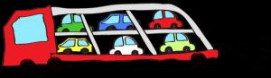 赤:【フリー素材・ 大型車】カーキャリー(積み)