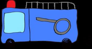 フリー素材 【ポンプ車】 青