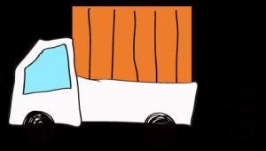 白 【フリー素材・乗り物】 軽トラック(荷台カバー)