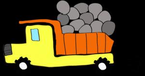 ダンプカー石載:黄色 【 フリー素材工事車両 】