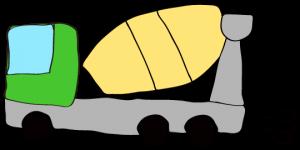 緑 【フリー素材・工事車両】 ミキサー車