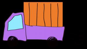 紫 【フリー素材・乗り物】 軽トラック(荷台カバー)