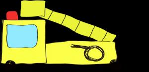 フリー素材 はしご車 黄色