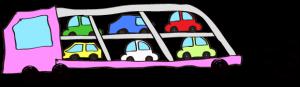 ピンク:【フリー素材・ 大型車】カーキャリー(積み)