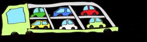 黄緑:【フリー素材・ 大型車】カーキャリー(積み)