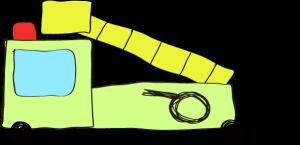 フリー素材 はしご車 黄緑