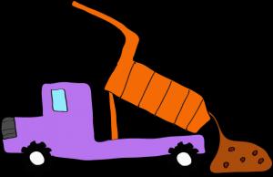 ダンプカー土砂下ろし:紫 【 フリー素材工事車両 】