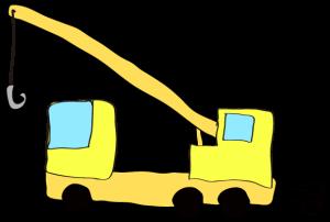 黄色:【フリー素材・ 大型車】クレーン車