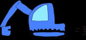 ショベルカー: 青 【 フリー工事車両 】