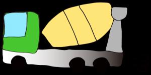 緑 【フリー素材・工事車両】 ミキサー車(グラデーション)