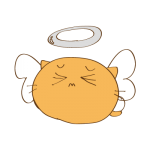 らくがき素材 ネコ 天使_ダウン