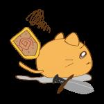 らくがき素材 ネコ剣士_横逃げ