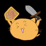 らくがき素材 ネコ剣士_ガッツポーズ