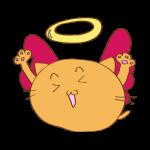 らくがき素材 ネコ堕天使_ガッツポーズ