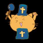 らくがき素材 ネコ僧侶_ガッツポーズ