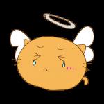 らくがき素材 ネコ 天使_ダメージ