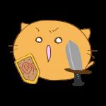 らくがき素材 ネコ剣士_攻撃