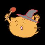 らくがき素材 ネコ魔法使い_ガッツポーズ