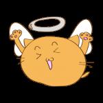 らくがき素材 ネコ 天使_ガッツポーズ
