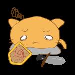 らくがき素材 ネコ剣士_倒れ