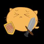 らくがき素材 ネコ剣士_ダウン