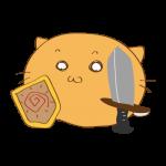 らくがき素材 ネコ剣士_基本