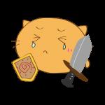 らくがき素材 ネコ剣士_ダメージ