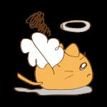 らくがき素材 ネコ 天使_横逃げ