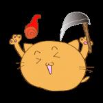 らくがき素材 ネコ火の玉_ガッツポーズ